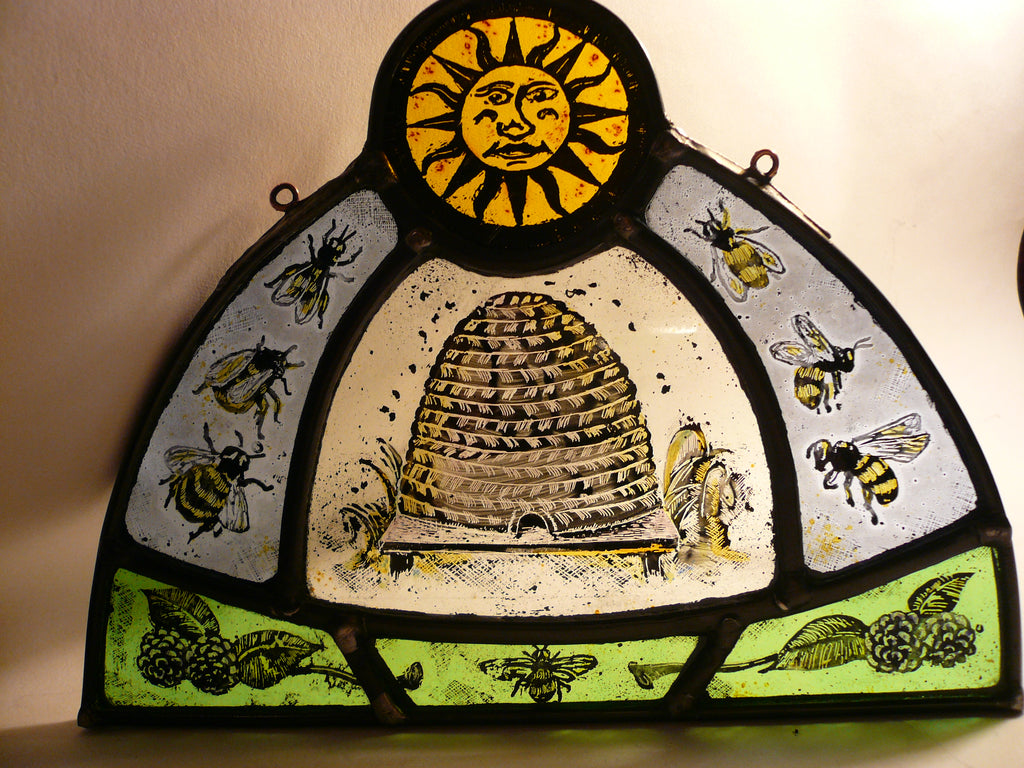 Bees and Beehive, stained glass by Bryan Smith