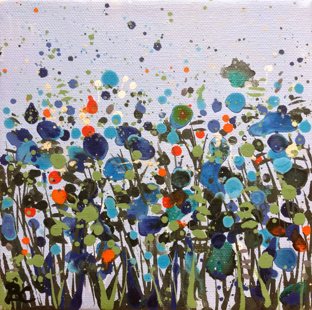 'Pale Blue Dancing Flowers II' by Becca Clegg