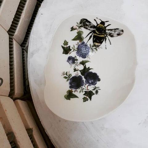 Bumble Bee Floral Trinket Dish