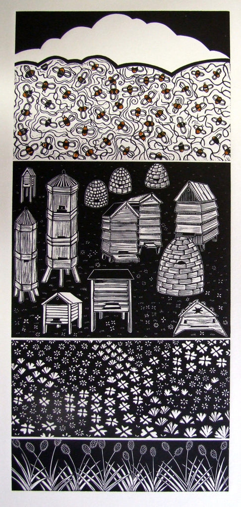 "Linocut ""Bees Needs"" by Diana Ashdown"