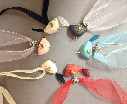 Birds Pendants on Ribbon by Sophie Smith