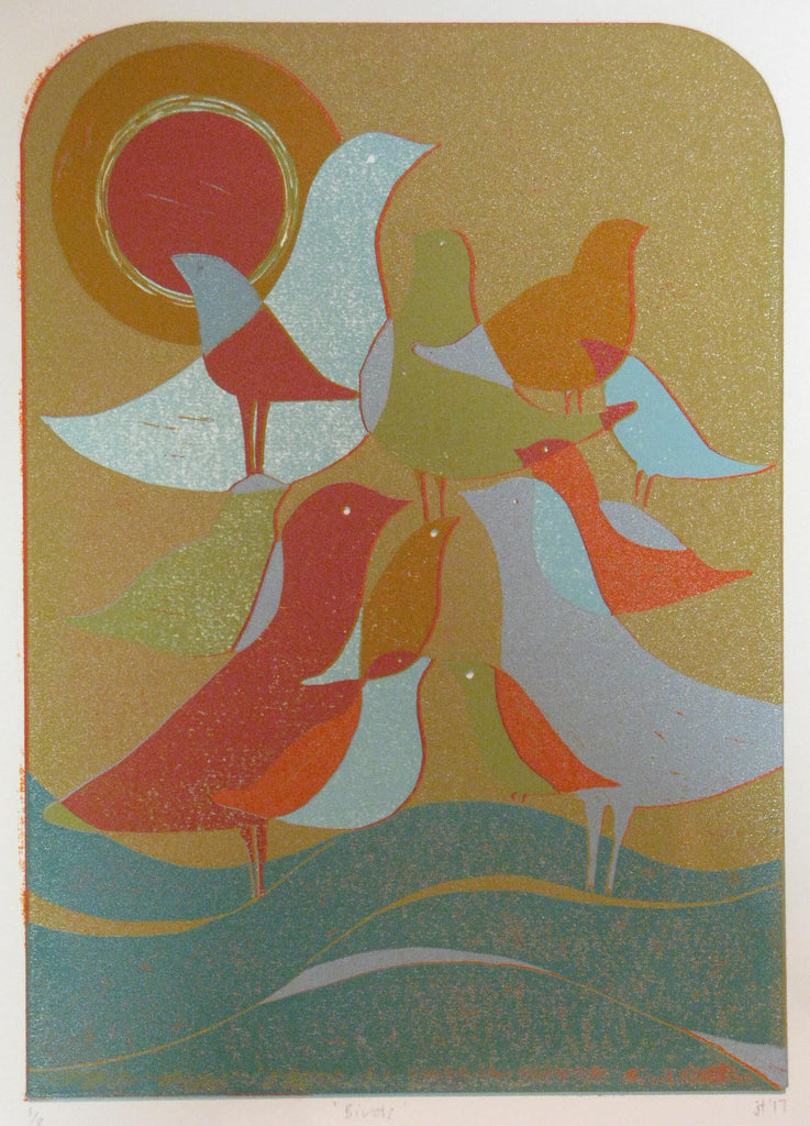 """Birds"" Linocut by Jane Tonkin"