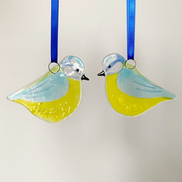 Blue Tit Glass Decoration by Marc Peters