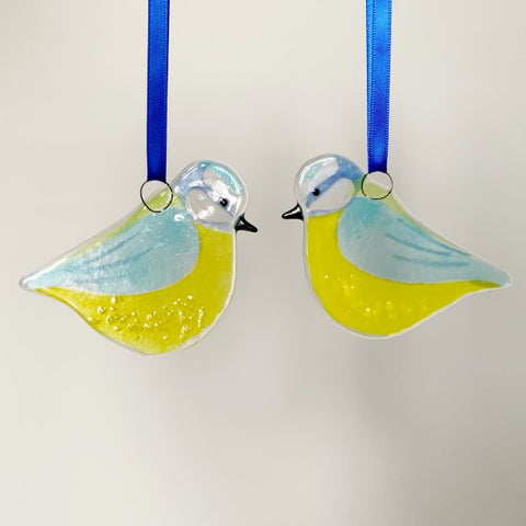 Blue Tit Glass Decoration