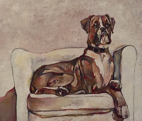Boxer on a White Chair - reproduction print by Jenni Cator