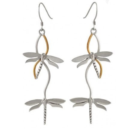 Bullrush earrings in sterling silver with gold plated detailing