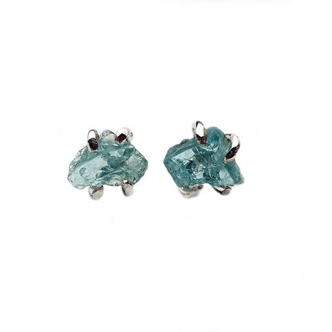 Raw Blue Apatite Stud Earrings by Caroline Stokesberry-Lee