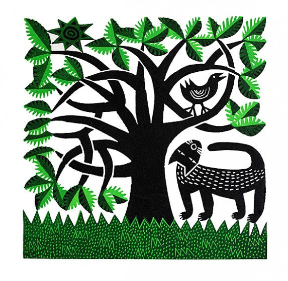 Cat & Bird - Hand Produced, Signed, Linocut by Hilke MacIntyre