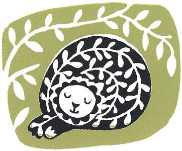 Catnap - Hand-printed Linocut by Ruth Green