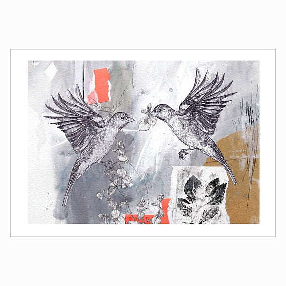 Signed limited edition of two Chaffinches by Sky Siouki
