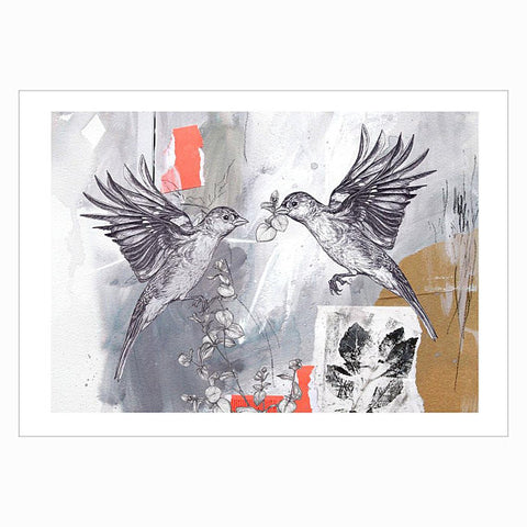 Chaffinch Pair – Limited Edition A4 Giclee Print of two Chaffinches