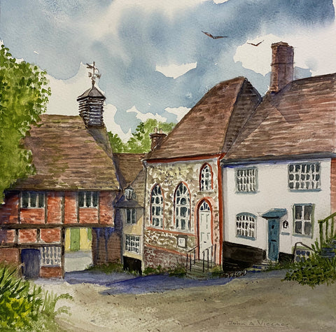 Church Lane, West Wycombe - watercolour by John A. Viccars