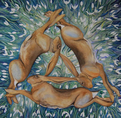Circle of Hares with Snowdrops