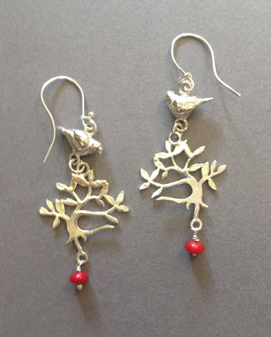 Silver Dove Tree Earrings with Coral