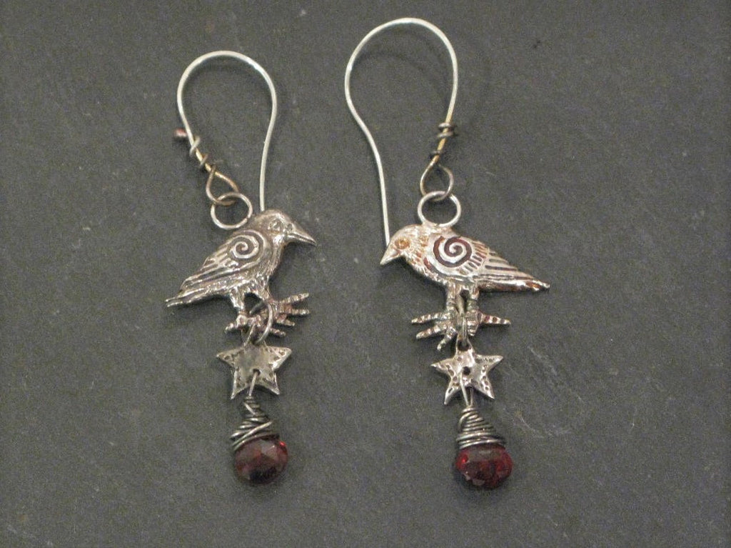 Silver Crow Earrings with Star and Garnet briolettes by Hannah Willow