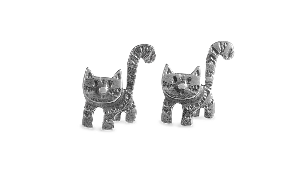 Curious Cat Stud Earrings by Katie Stone