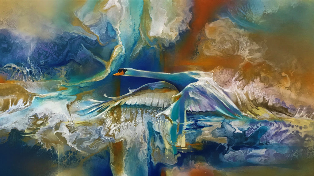 Cygnus Wave - swan in flight painting by Julien Hatswell
