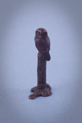 Miniature Bronze Owl on Post