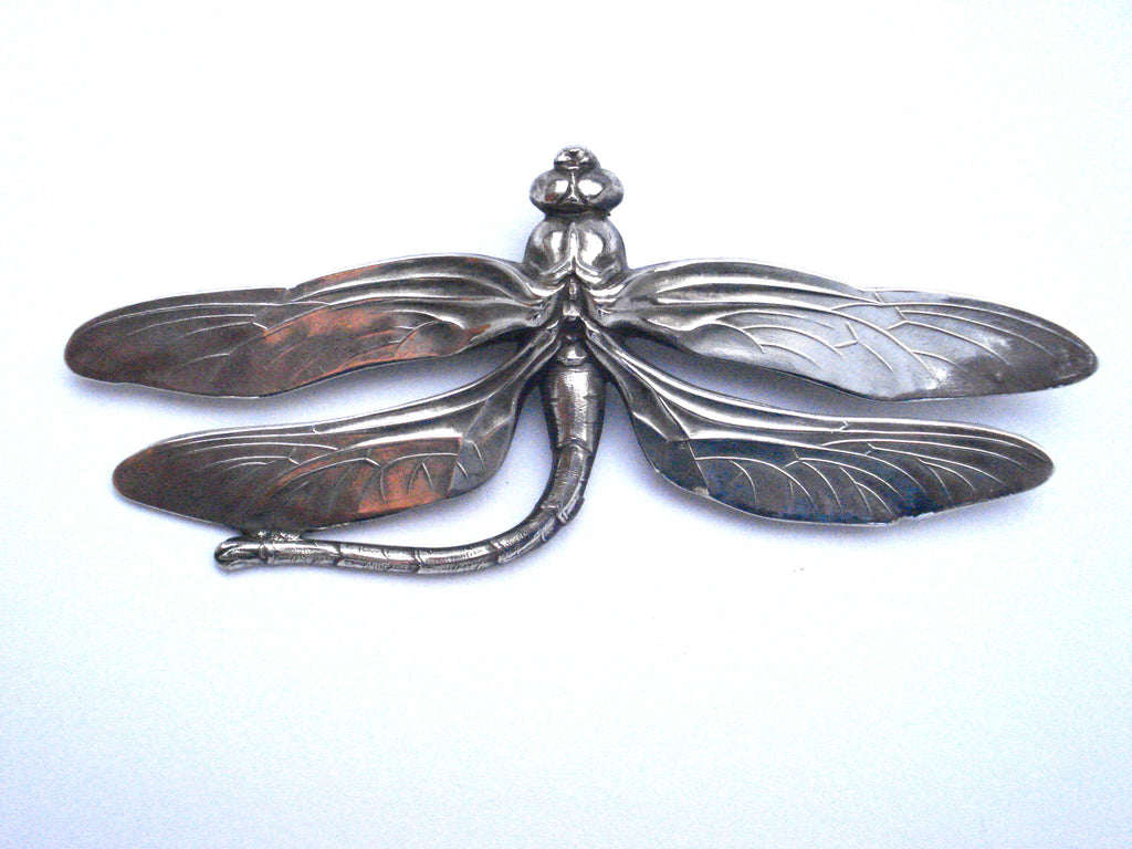 Jess Lelong Large Dragonfly Brooch with Curved Tail