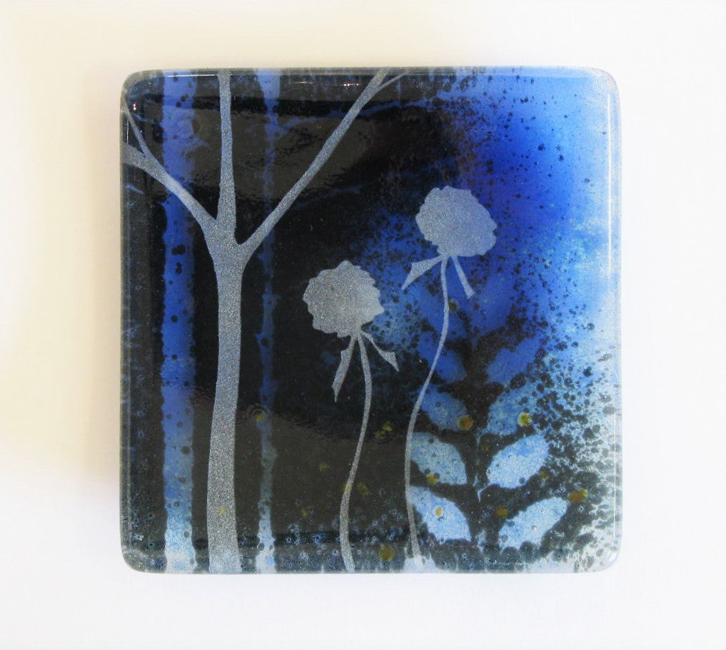 Dark Forrest, Small Curved Glass Dish with Flowers by Verity Pulford
