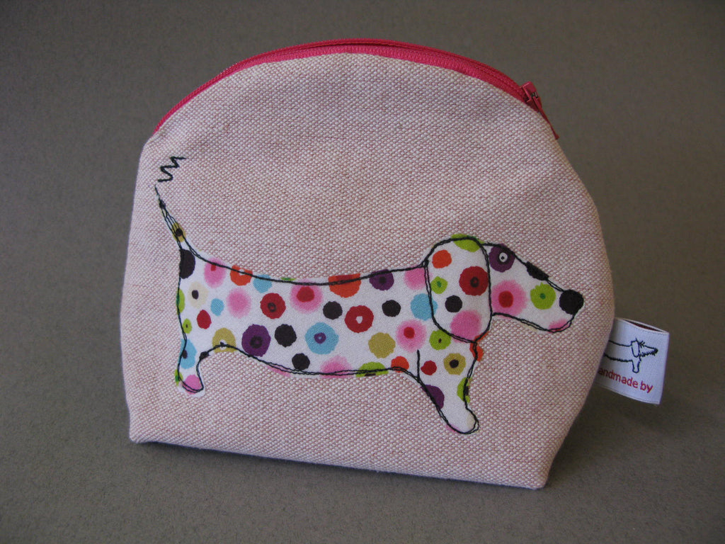 Makeup Bag - Sausage Dog with Multicoloured Spots