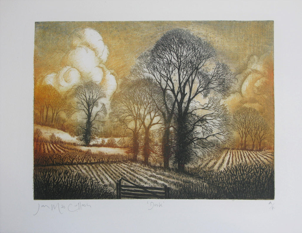 Dusk, Etching by Ian MacCulloch