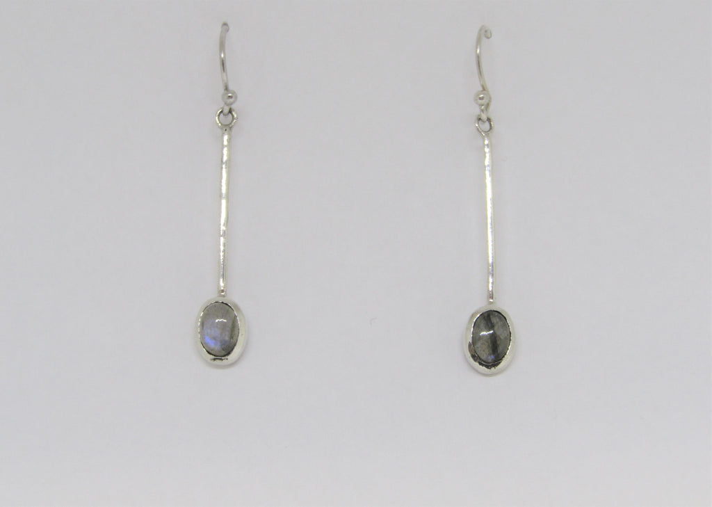 Sequola Earrings with Labradorite made by Madeleine Blaine.