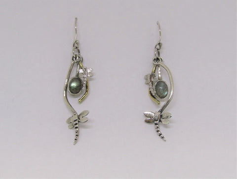 Rippled Earrings with Labradorite made by Madeleine Blaine.
