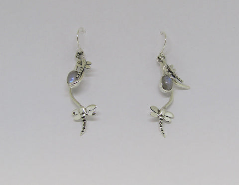 Rippled Earrings with Moonstone made by Madeleine Blaine.