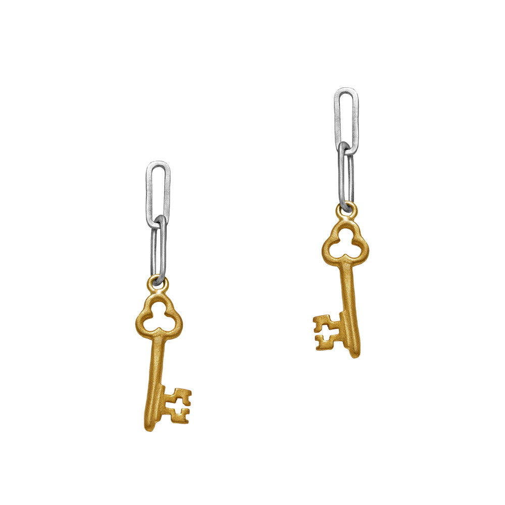 Trinket Key Earrings Gold by Julia Thompson