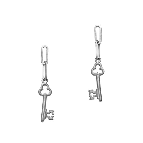 Key Charm Silver Earrings by Julia Thompson