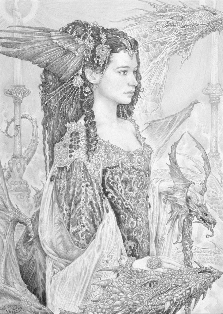 The Dragon Maiden by Ed Org - Signed Print