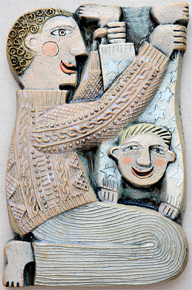 Father and Son, Hand Produced Ceramic Relief by Hilke MacIntyre