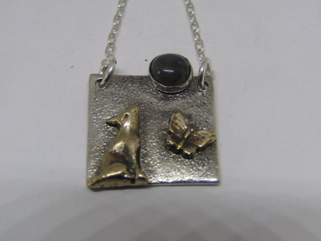 Moon Gazing Hare With Labradoite Stone And Butterfly Necklace by Xuella Arnold