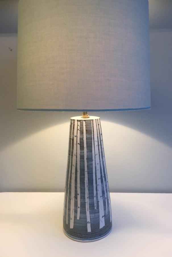 Silver Birch Design Pottery Lamp by Neil Tregear