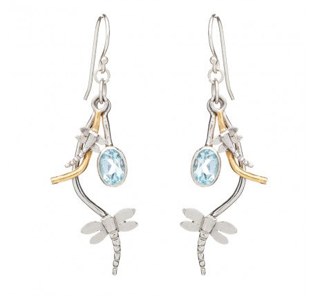 rippled earrings by madeleine blaine with blue topaz and silver gold plating