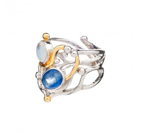 Seaweed ring with kyanite and moonstone, silver and gold plated