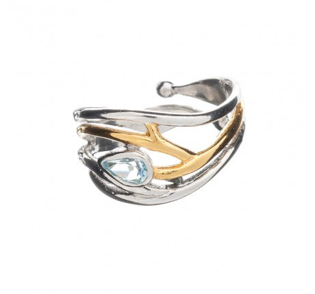 Peacock Sterling Silver Ring with Blue Topaz and Gold Plated Detailing