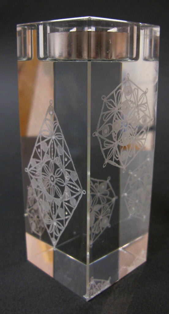 Geometric Shapes - Hand-engraved glass t-light holder by Sue Burne