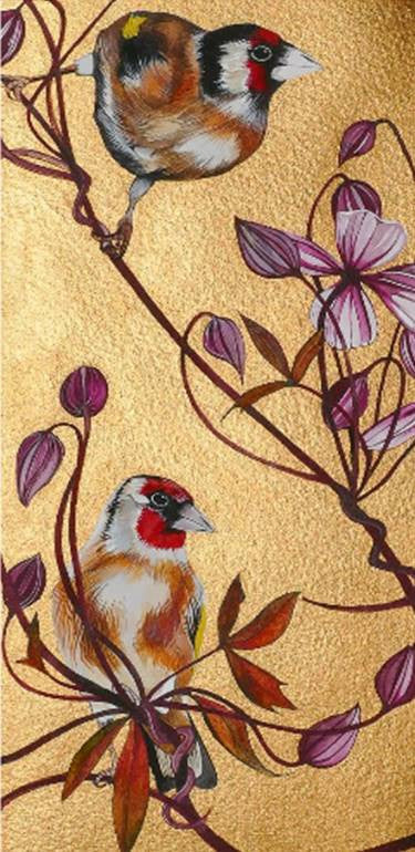 Goldfinches and Clematis - Signed Limited Edition Mounted Print by Sam Cannon