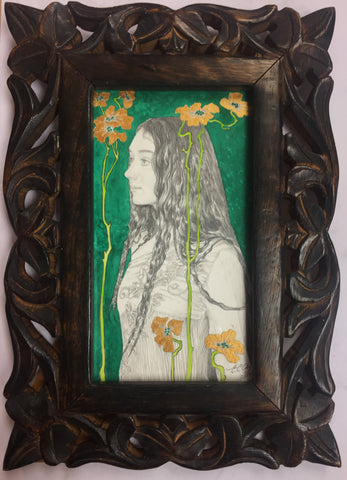 Green and Gold - original pencil drawing with watercolour & gold ink by Ed Org