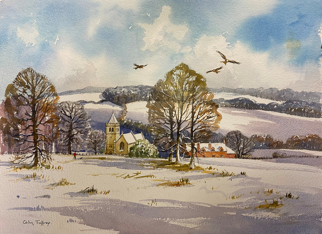 Red Kites Over Hambleden Valley in the Snow - watercolour by Colin Tuffrey