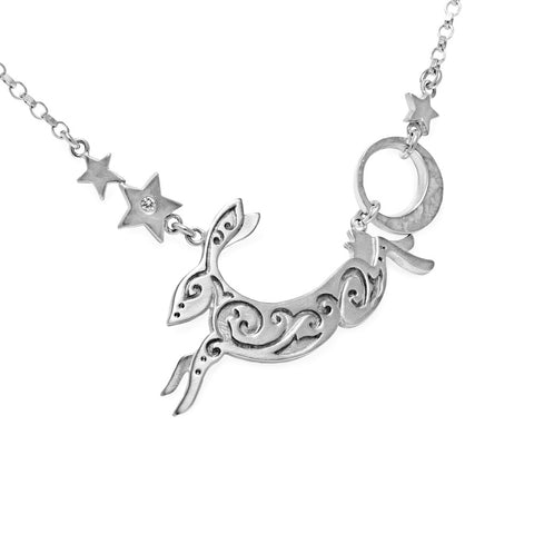 Hare and Stars Necklace Silver by Julia Thompson