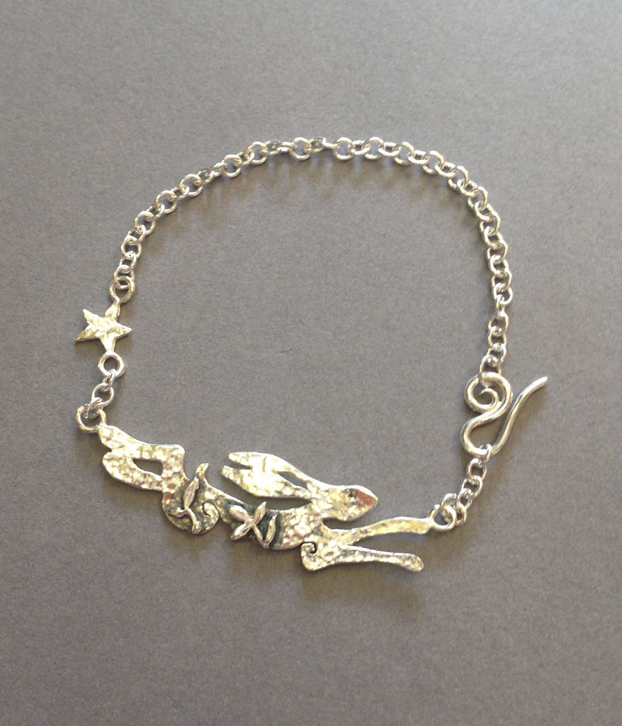 Silver Running Hare Bracelet by Jesa Marshall
