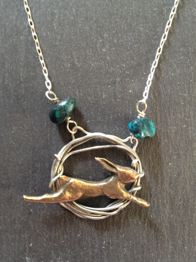 Hare in Hoop with Turquoise by Xuella Arnold