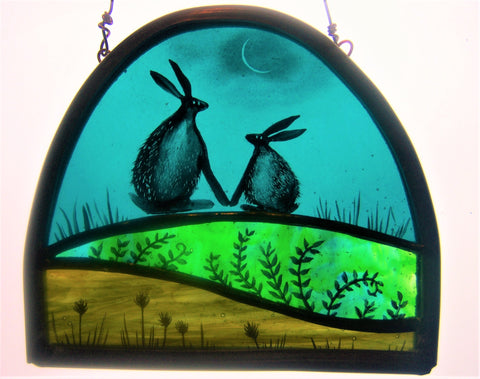 Hares Holding Hands - Glass by Debra Eden