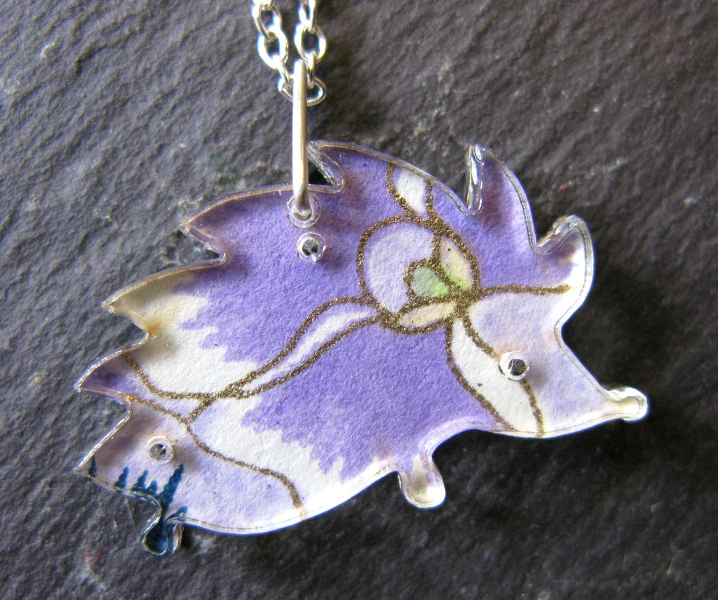 Hedgehog Design Reversible Necklace - Purple and Pink Flower by Sophie Court