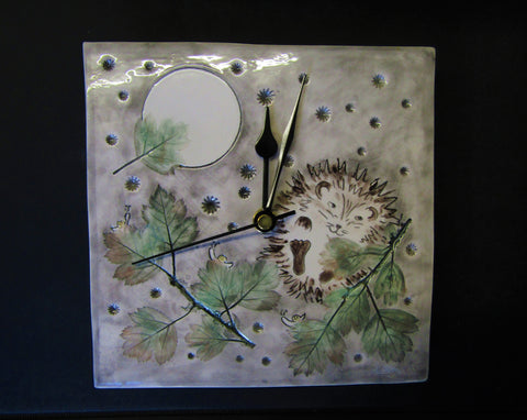 Hedgehog & Leaves Wall Clock by Stephanie Beasley