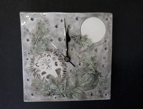 Hedgehog & Oak Leaves Wall Clock by Stephanie Beasley