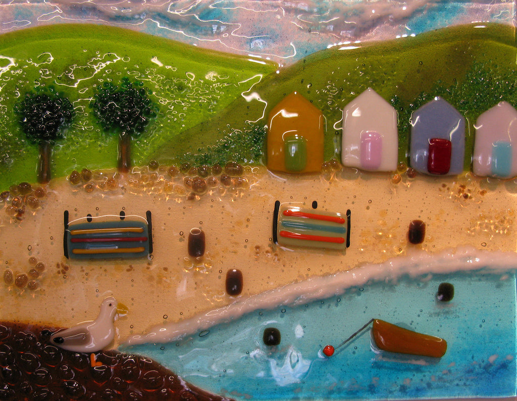 Debbie Lord - Glass Panel - Holidays by the Sea